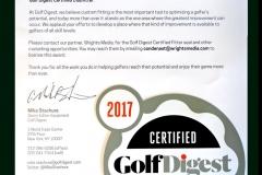 Steve Kirkpatrick, Golf Rx chosen as a Golf Digest Certified Clubfitter for 2017